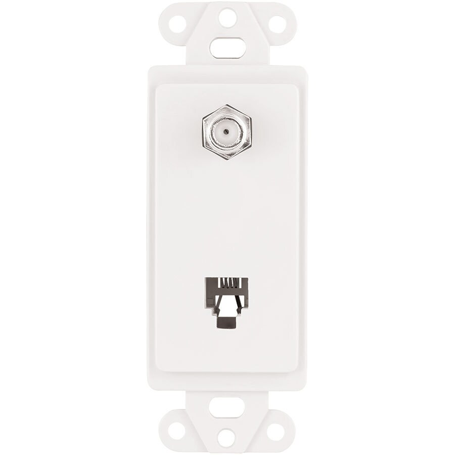 Eaton 1-Gang White Single Decorator Phone/Coaxial Wall Plate Insert Adapter