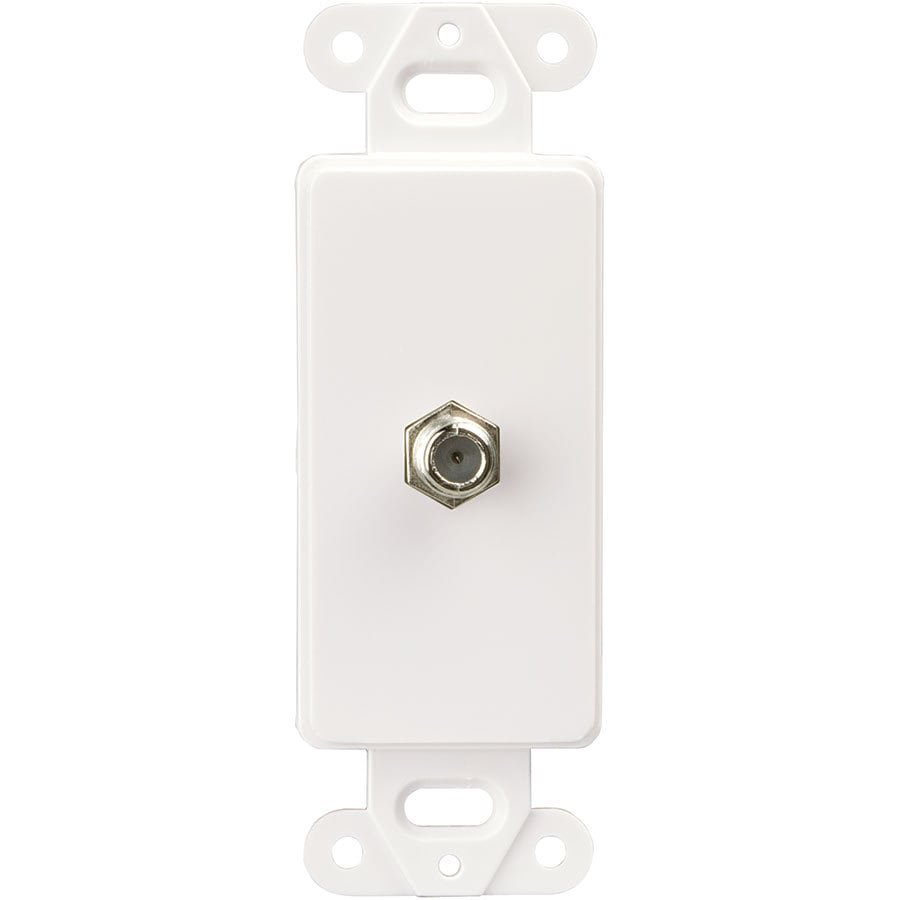 Eaton 1-Gang White Single Decorator Coaxial Wall Plate Insert Adapter