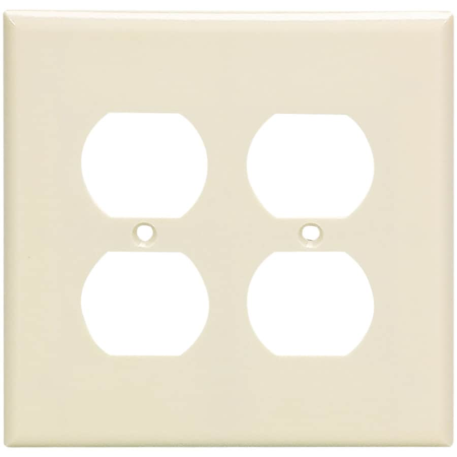 Eaton 2-Gang Almond Round Wall Plate