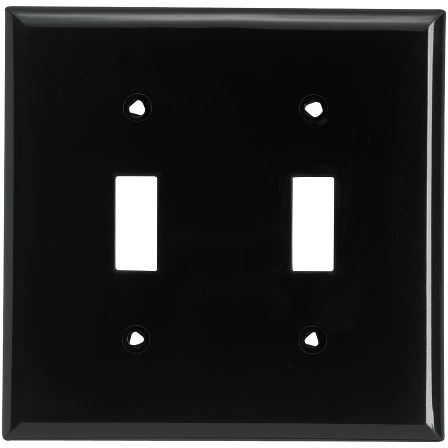 Eaton 2-Gang Black Double Toggle Wall Plate