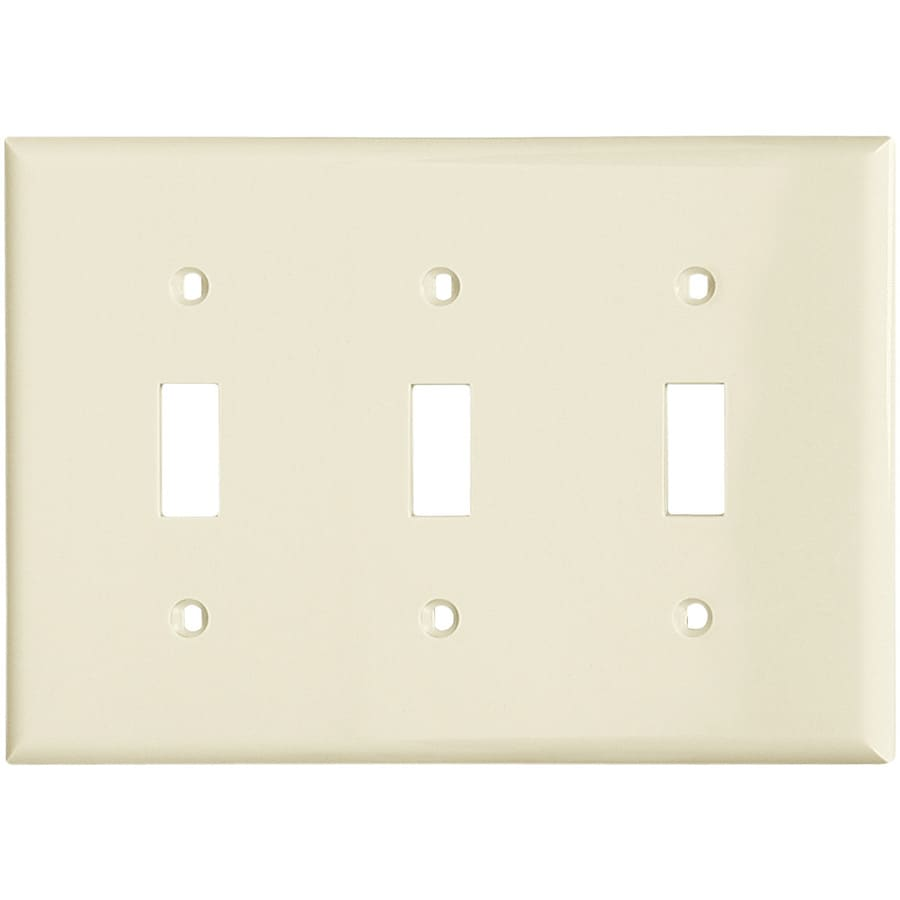 Eaton 3-Gang Almond Toggle Wall Plate