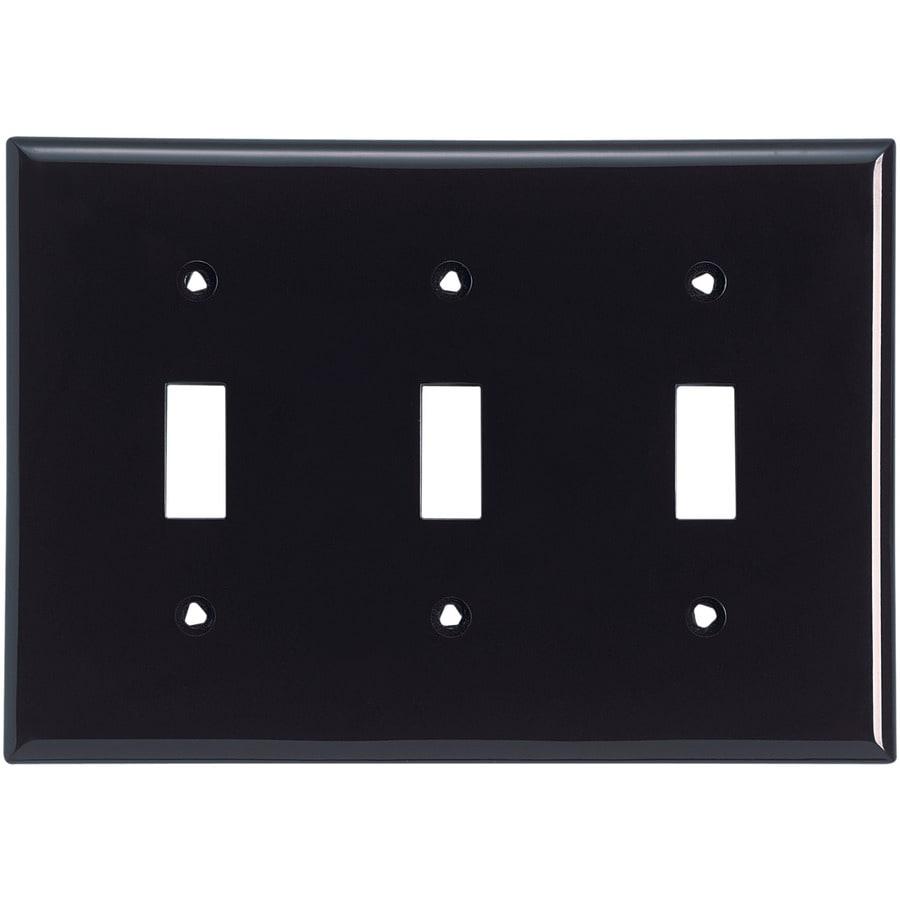 Eaton 3-Gang Black Toggle Wall Plate