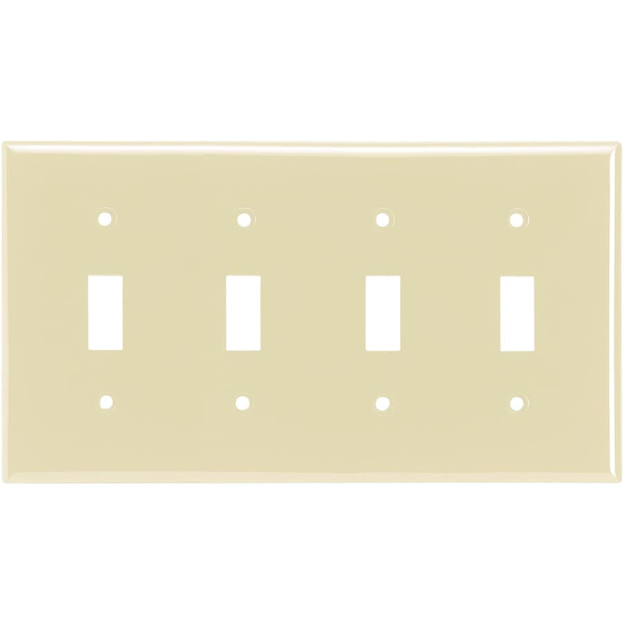 Eaton 4-Gang Almond Toggle Wall Plate