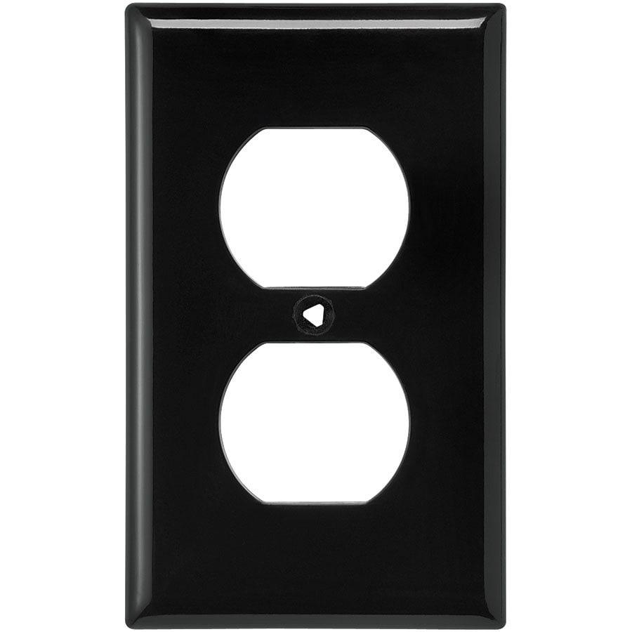Eaton 1-Gang Black Single Duplex Wall Plate