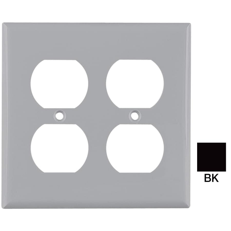 Eaton 2-Gang Black Round Wall Plate