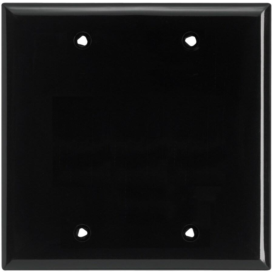 Eaton 2-Gang Black Single Blank Wall Plate