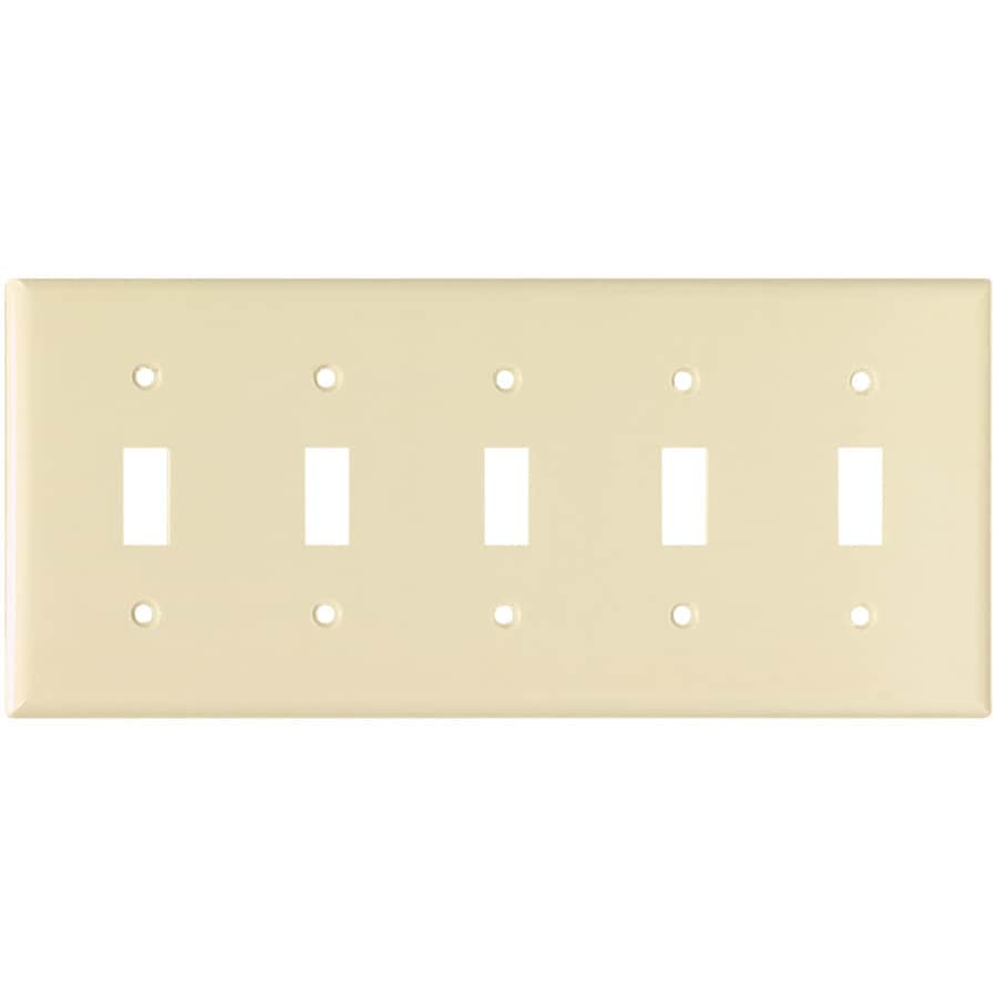 Eaton 5-Gang Almond Toggle Wall Plate