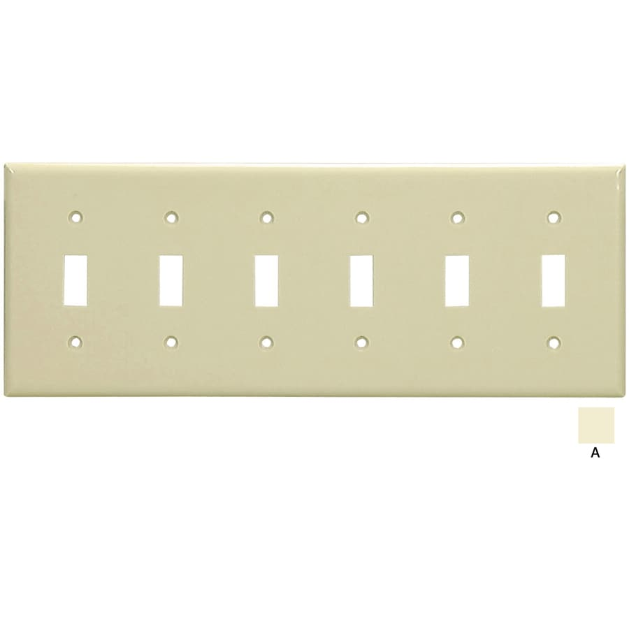 Eaton 6-Gang Almond Toggle Wall Plate