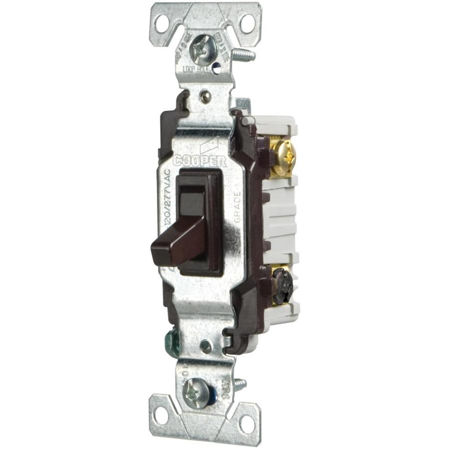 Eaton Single Pole 3-Way Brown Light Switch