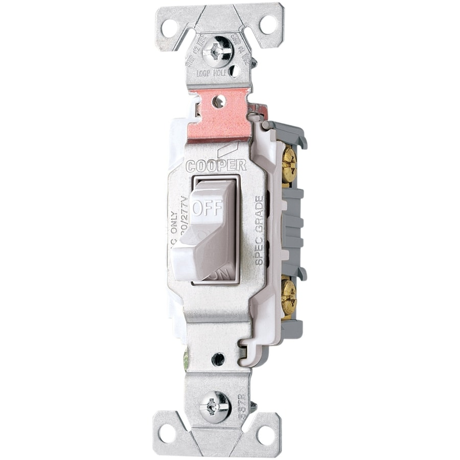 Eaton Single Pole 3-Way White Light Switch