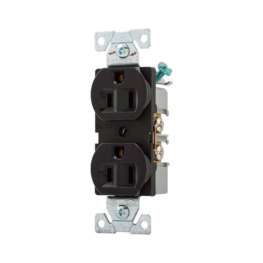 Eaton 15-Amp 125-Volt Black Indoor Duplex Wall Outlet