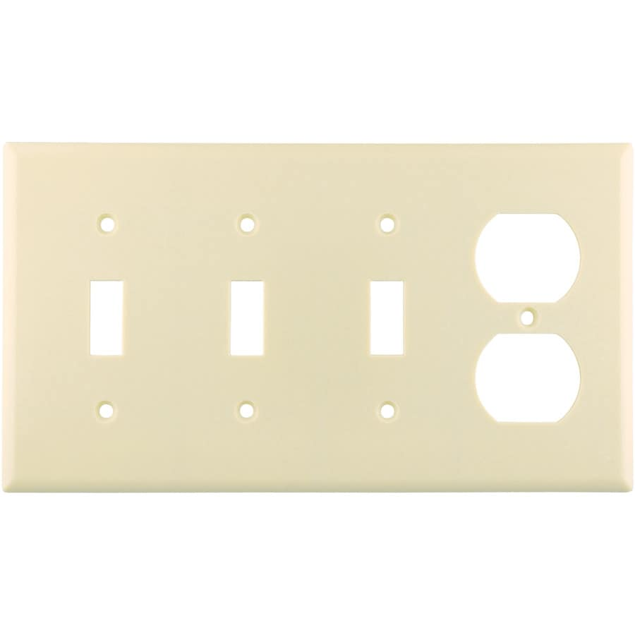 Eaton 4-Gang Almond Wall Plate