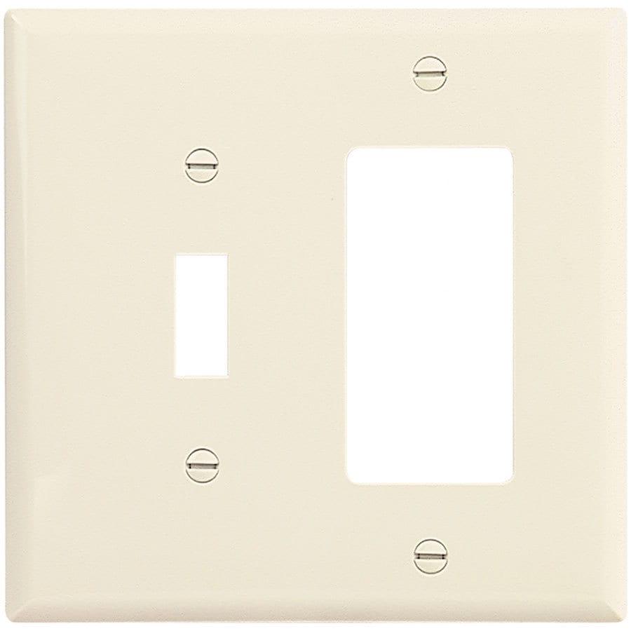 Eaton 2-Gang Light Almond Single Toggle/Decorator Wall Plate