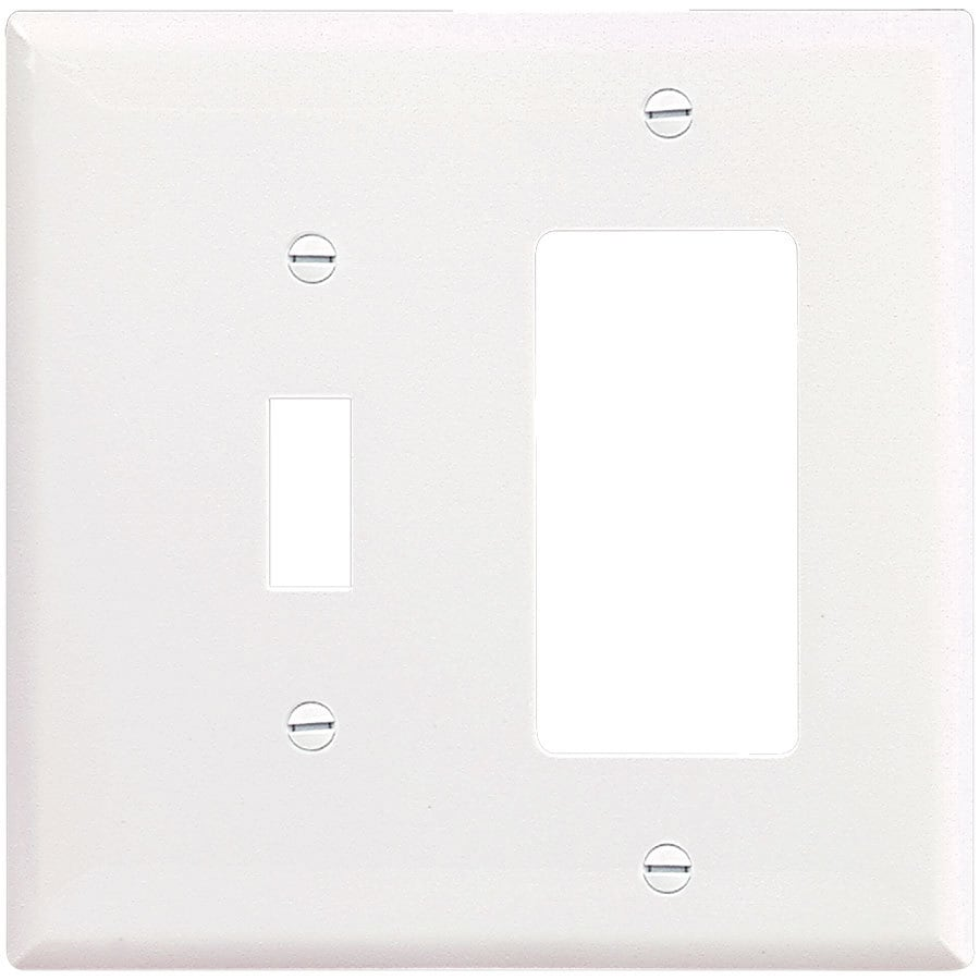 Eaton 2-Gang White Single Toggle/Decorator Wall Plate