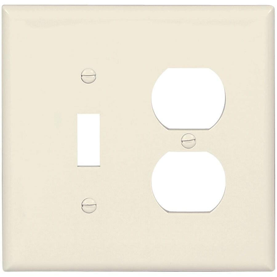 Eaton 2-Gang Light Almond Single Toggle/Duplex Wall Plate
