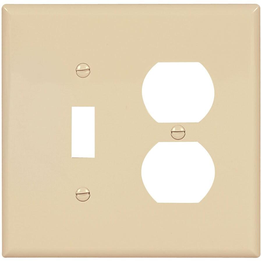 Eaton 2-Gang Ivory Single Toggle/Duplex Wall Plate