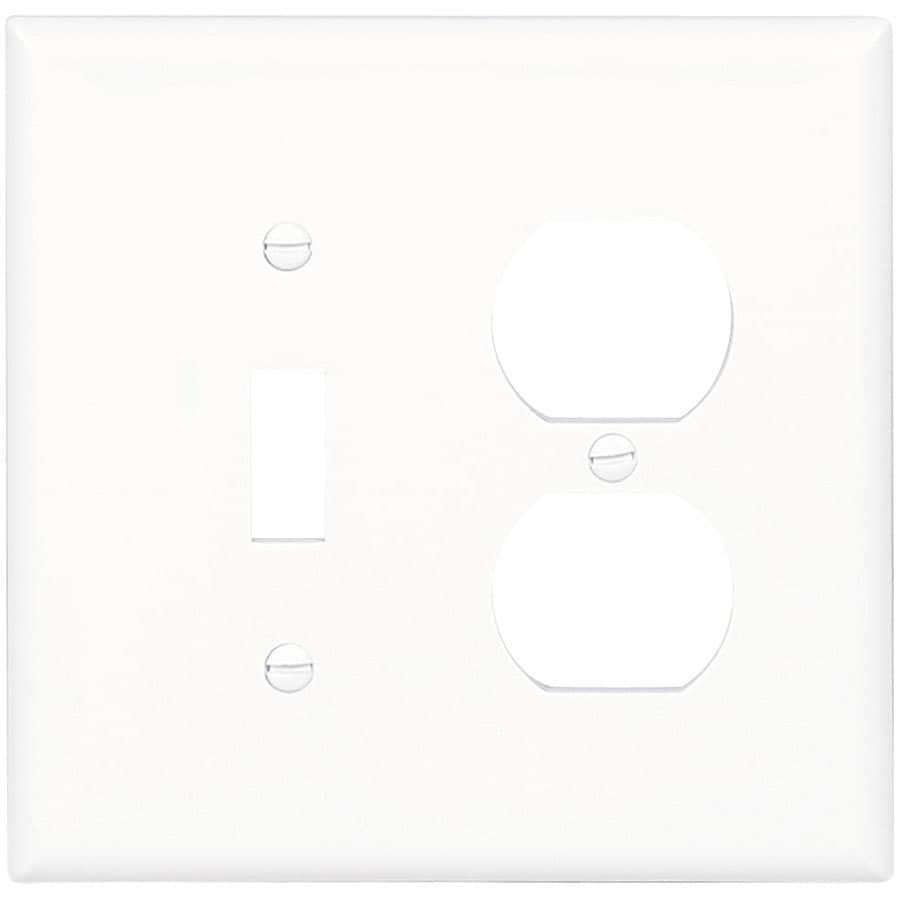 Eaton 2-Gang White Single Toggle/Duplex Wall Plate