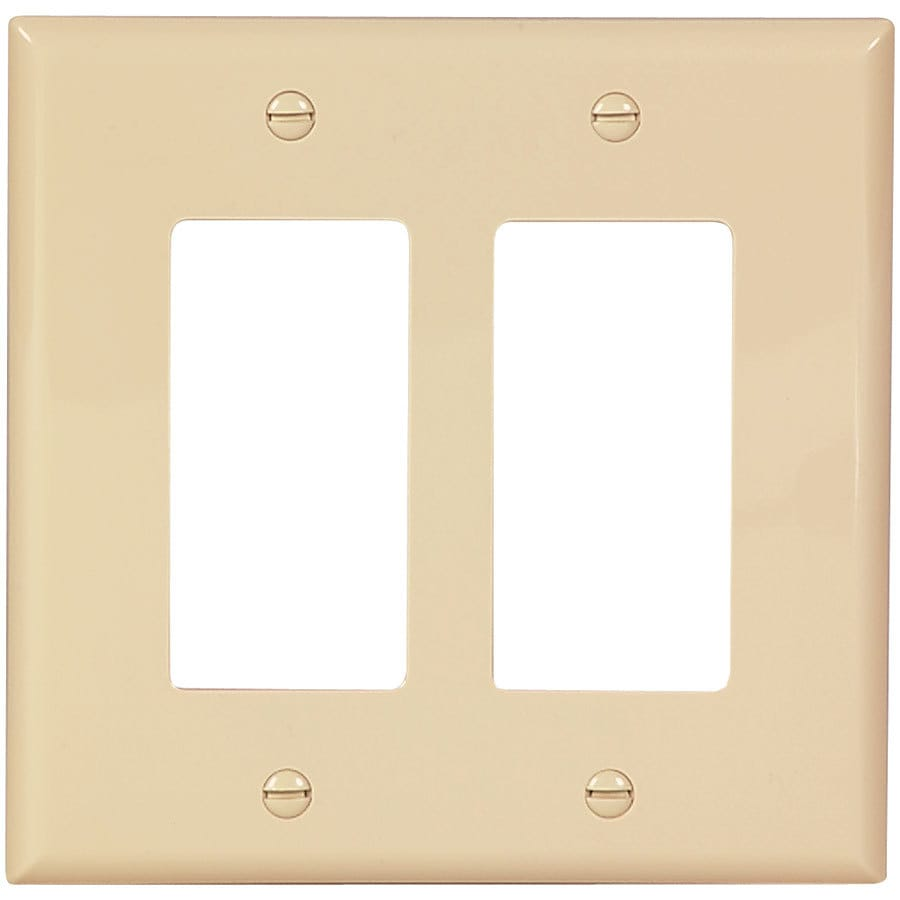 Eaton 2-Gang Ivory Double Decorator Wall Plate