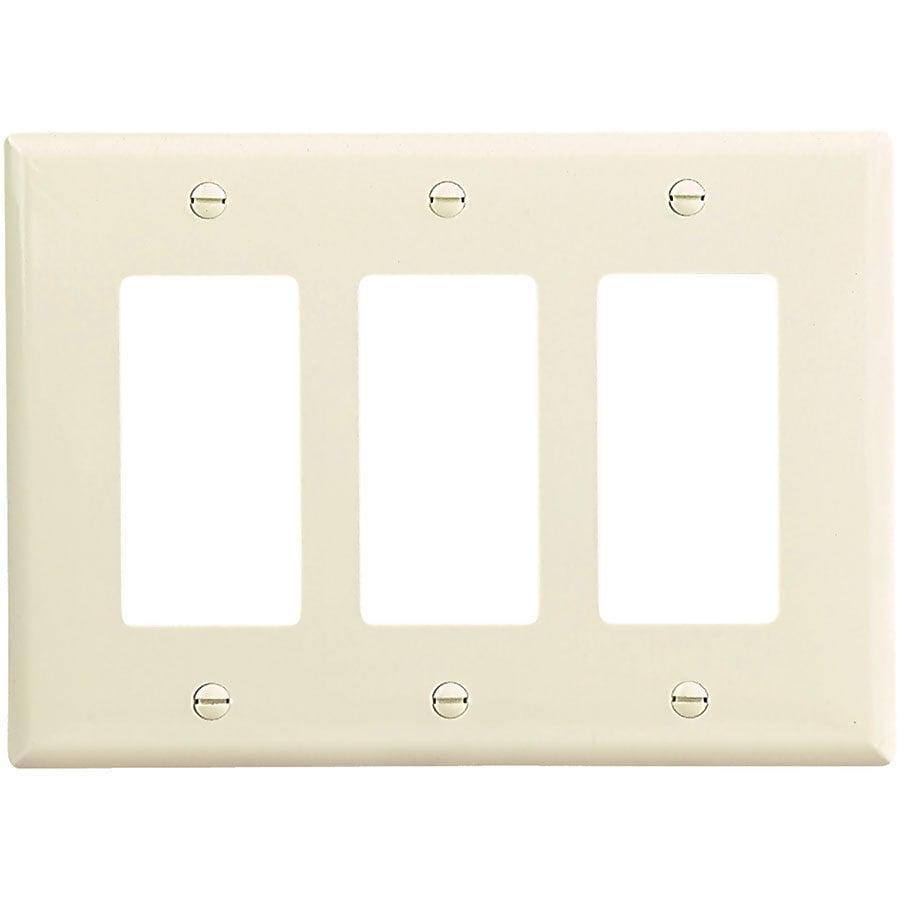 Eaton 3-Gang Light Almond Triple Decorator Wall Plate
