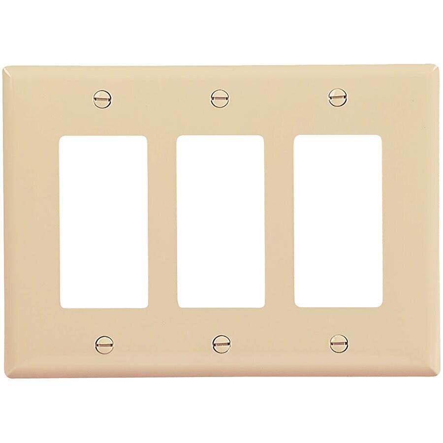 Eaton 3-Gang Ivory Triple Decorator Wall Plate