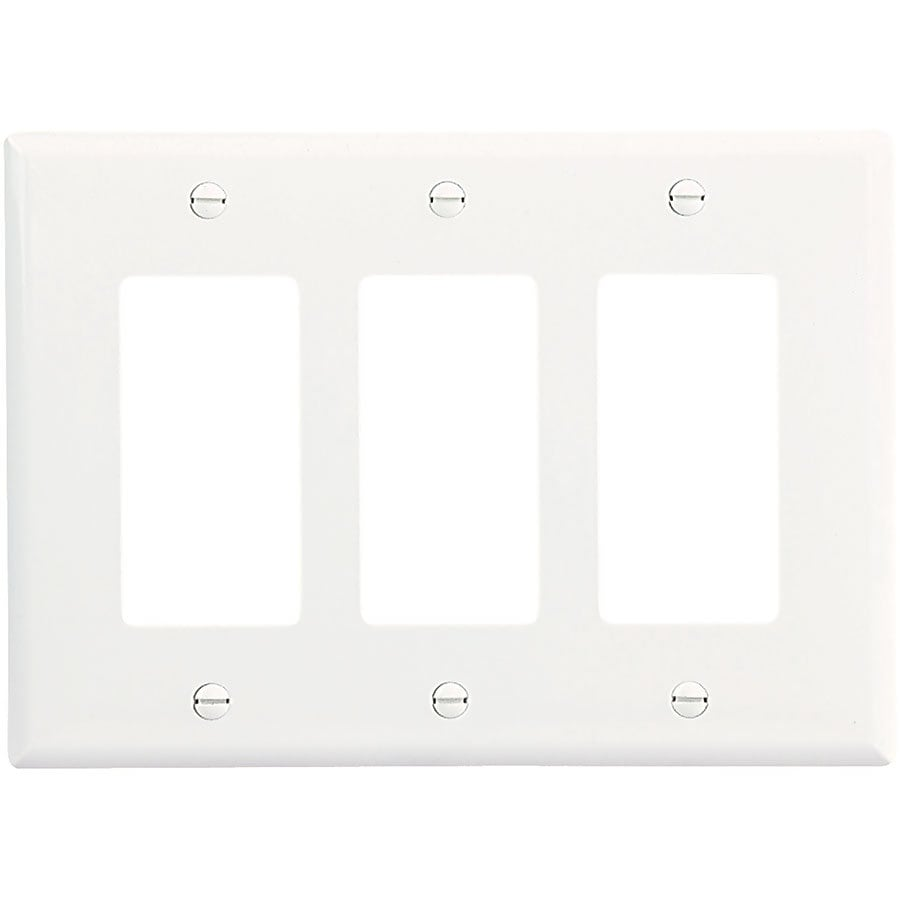 Shop Eaton 3-Gang White Triple Decorator Wall Plate at Lowes.com