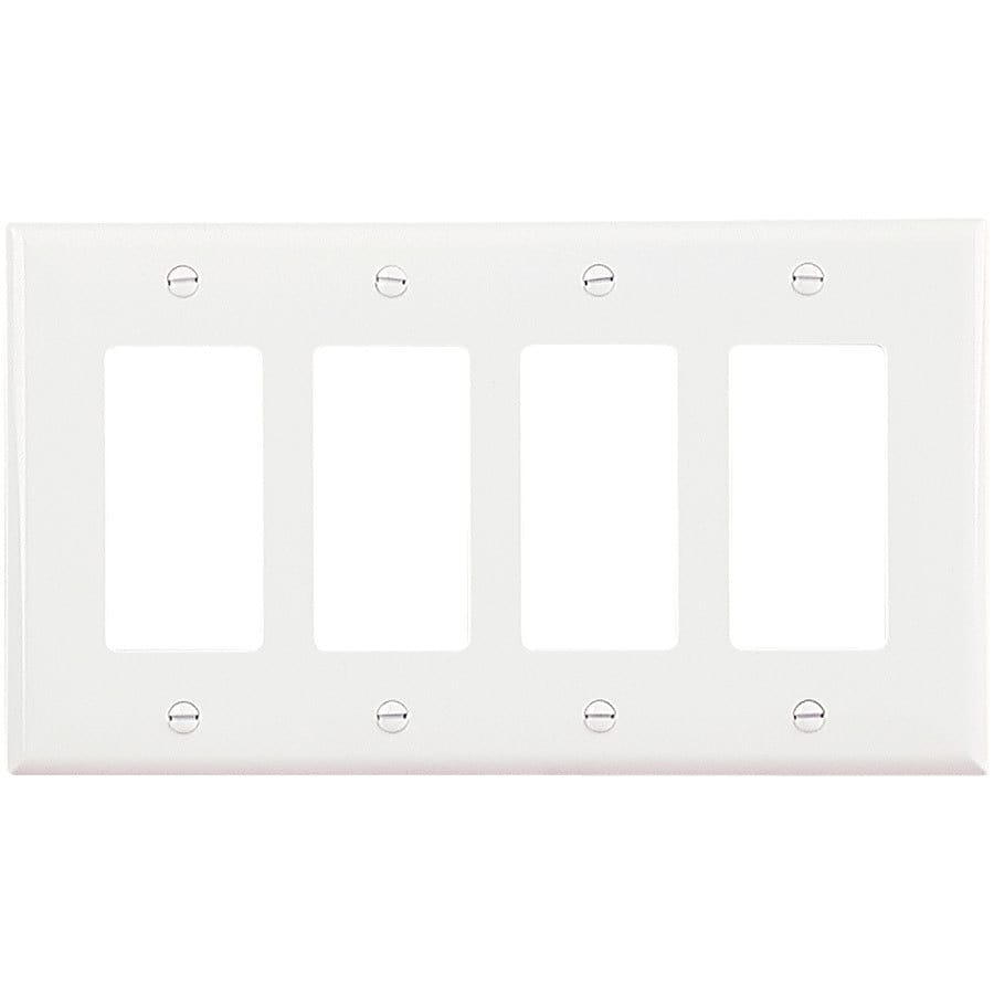Eaton 4-Gang White Quad Decorator Wall Plate