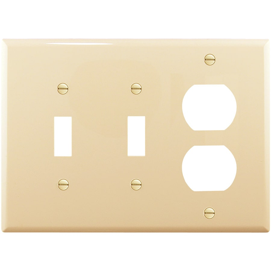Cooper Wiring Devices 3-Gang Ivory Combination Nylon Wall Plate