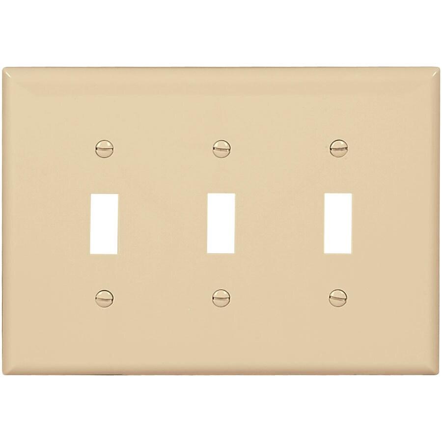 Eaton 3-Gang Ivory Triple Toggle Wall Plate