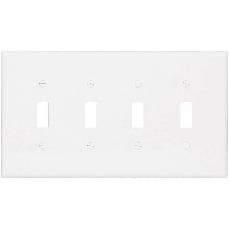 Eaton 4-Gang White Quad Toggle Wall Plate