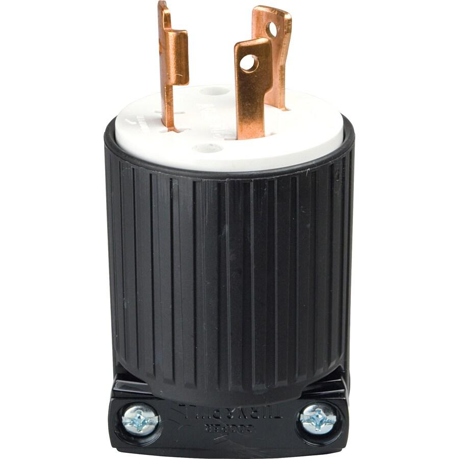 Cooper Wiring Devices 30-Amp 125-Volt Black 3-Wire Plug