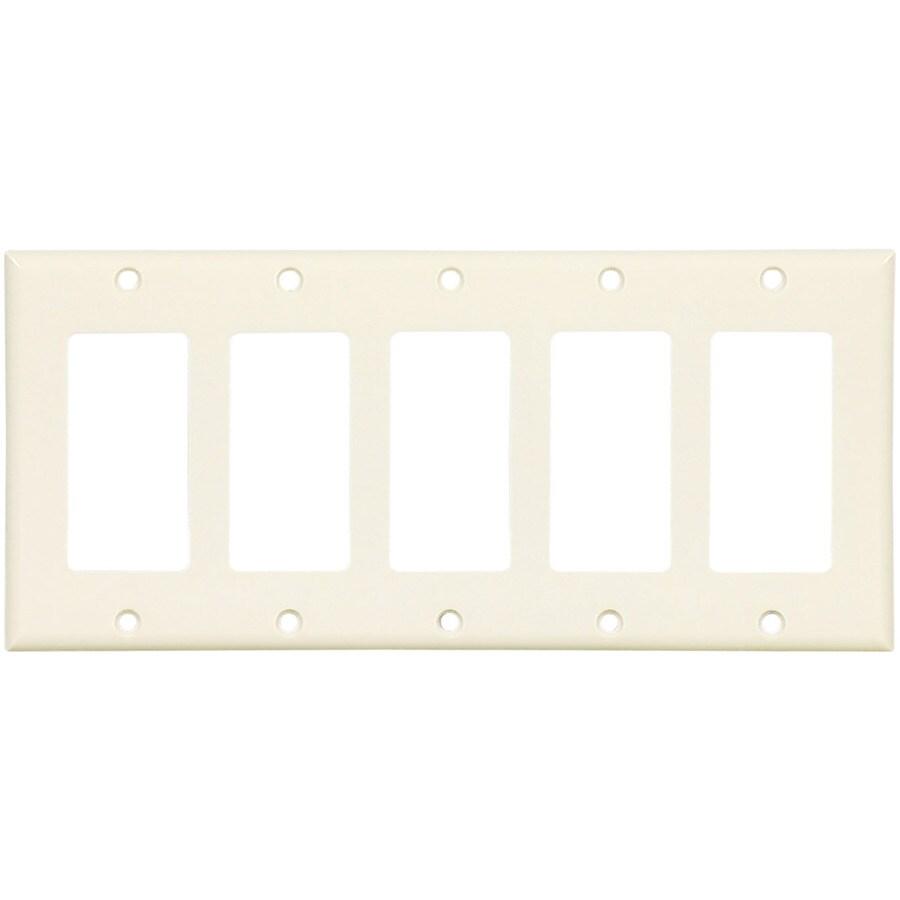Eaton 5-Gang Light Almond Decorator Wall Plate