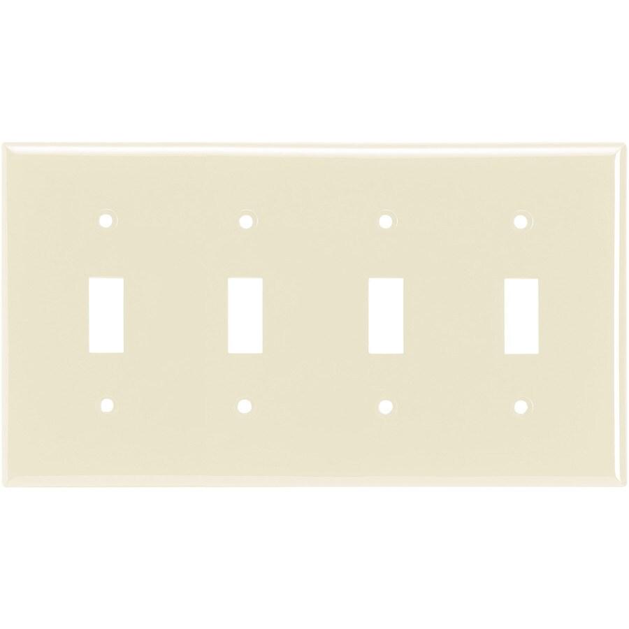 Eaton 4-Gang Light Almond Toggle Wall Plate