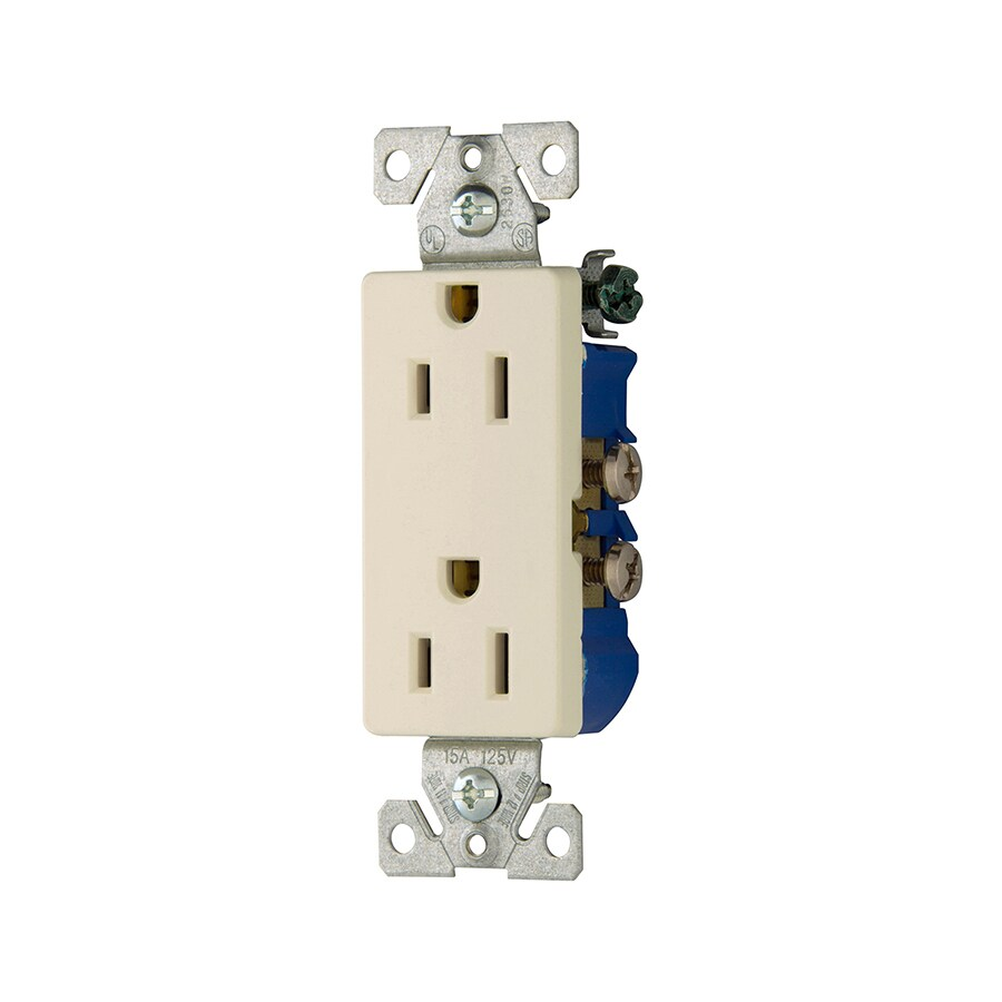 Eaton 15-Amp 125-Volt Light Almond Indoor Decorator Wall Outlet