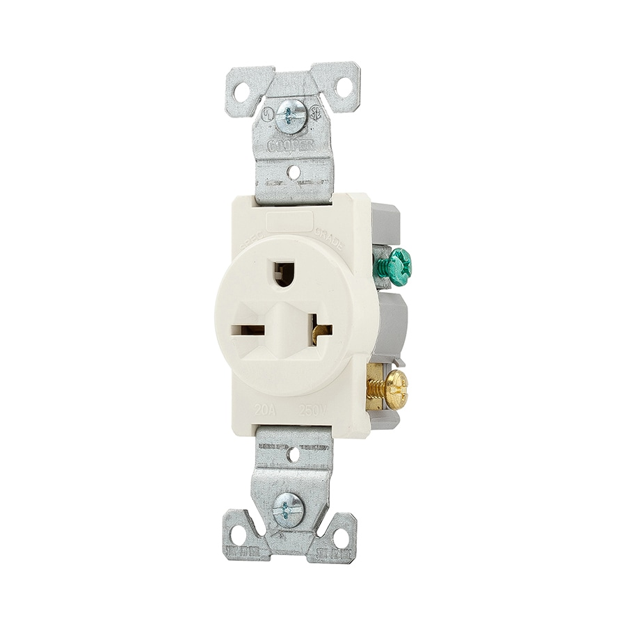 Eaton 20-Amp 250-Volt Light Almond Indoor Round Wall Outlet