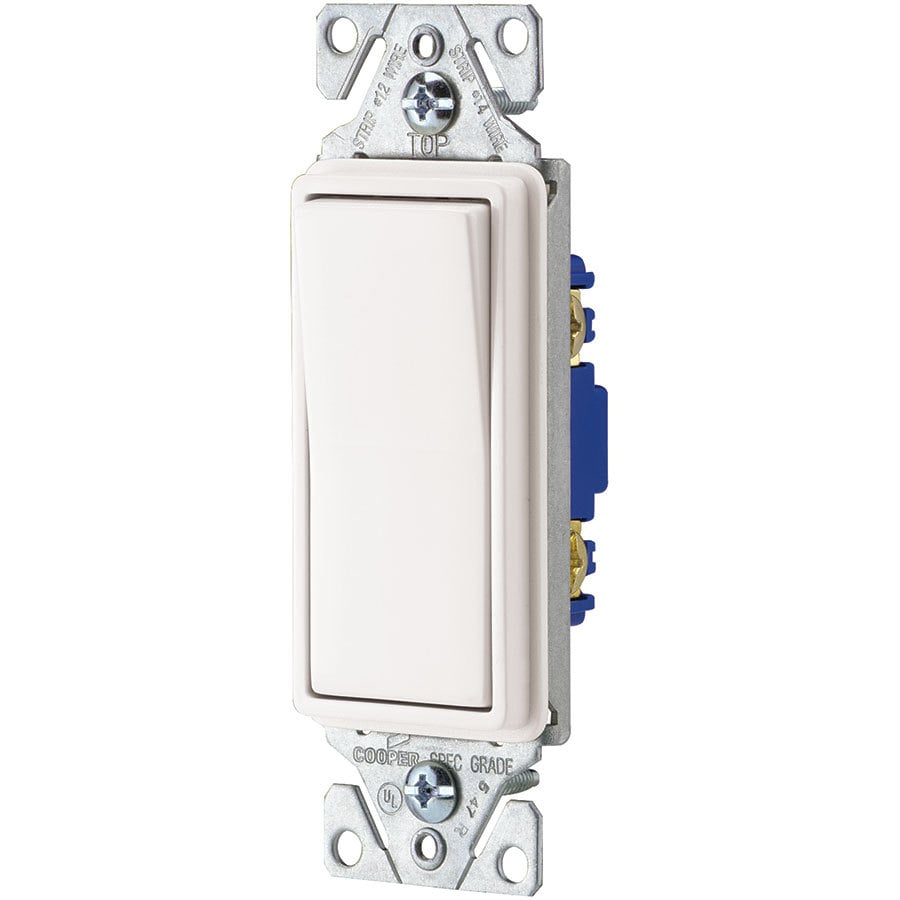 Eaton 15-Amp Single Pole White Indoor Rocker Light Switch