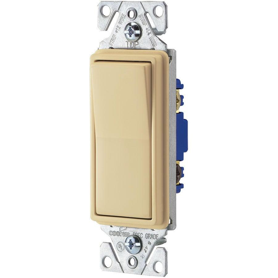 Eaton 15-Amp Single Pole 3-Way Ivory Rocker Indoor Light Switch