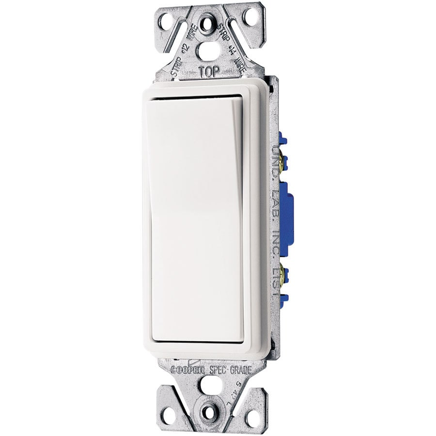 Eaton 15-Amp Single Pole 3-Way White Indoor Rocker Light Switch