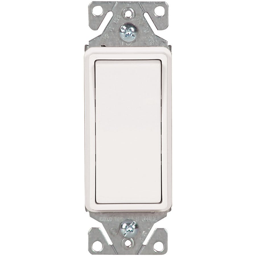 Eaton 15-Amp Single Pole White Rocker Indoor Light Switch
