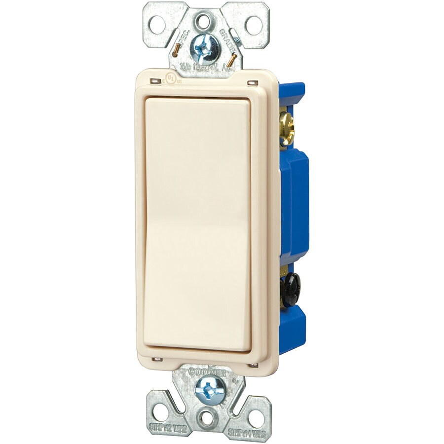 Eaton 15-Amp Single Pole 4-Way Light Almond Indoor Rocker Light Switch