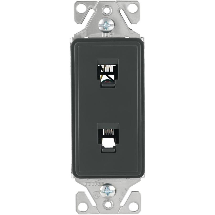 Eaton Aspire 1-Gang Silver Granite Phone Wall Plate