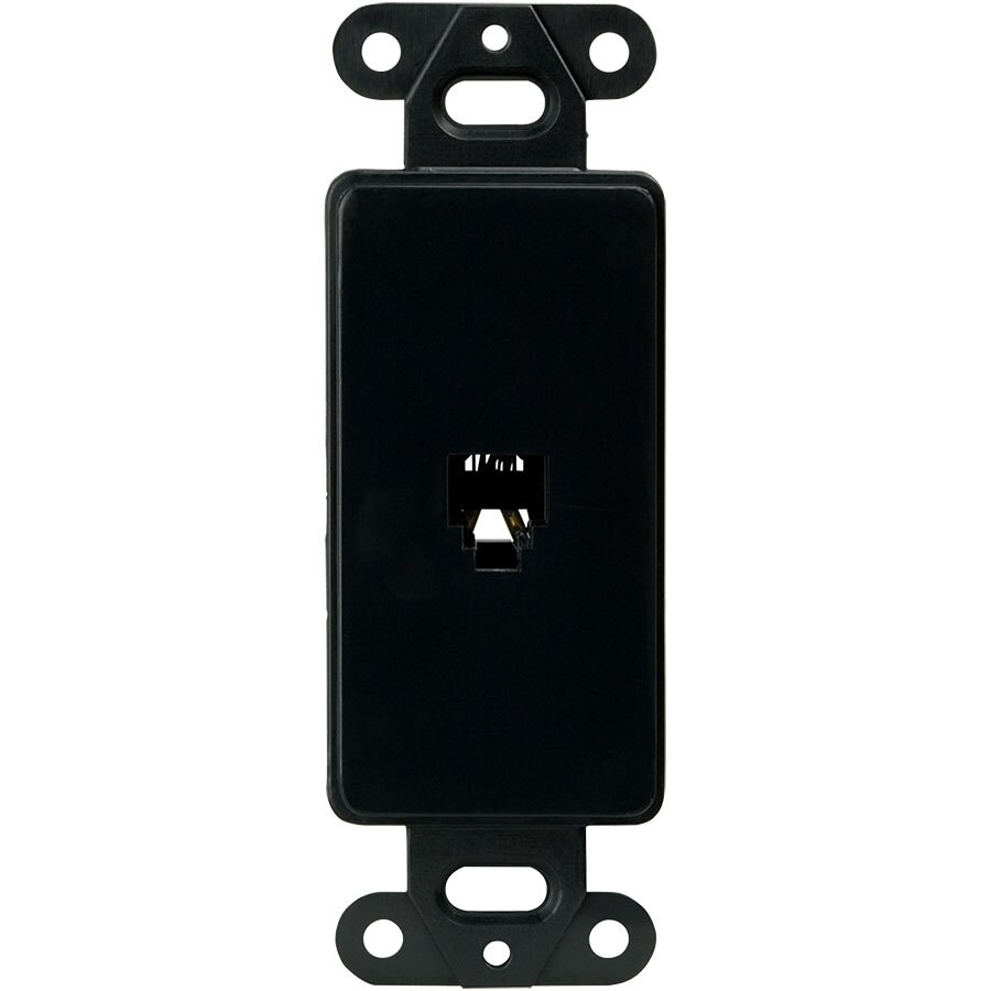Eaton 1-Gang Black Single Decorator Phone Wall Plate Insert