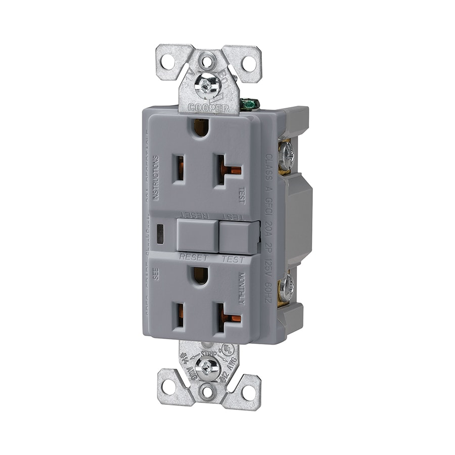Shop Cooper Wiring Devices 20-Amp 125-Volt Gray GFCI Decorator at ...