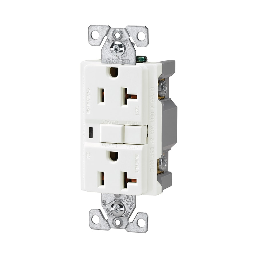 Shop Cooper Wiring Devices 20 Amp 125 Volt White Gfci Decorator At