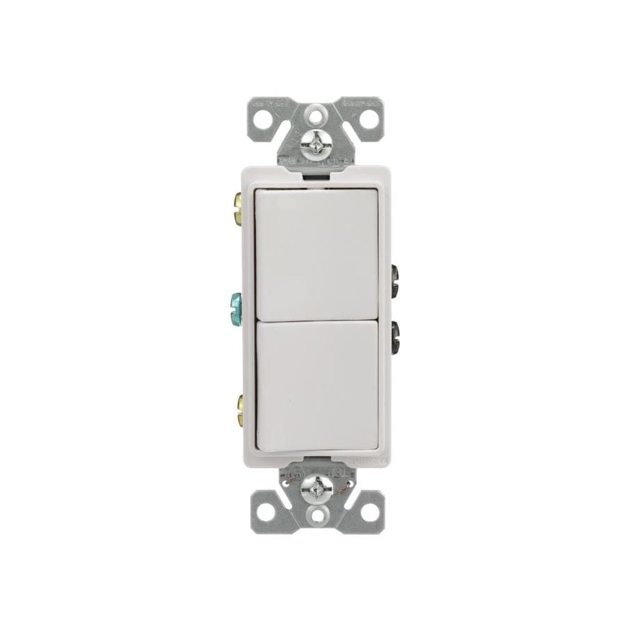 Eaton 2-Switch 15-Amp Single Pole White Indoor Rocker Light Switch