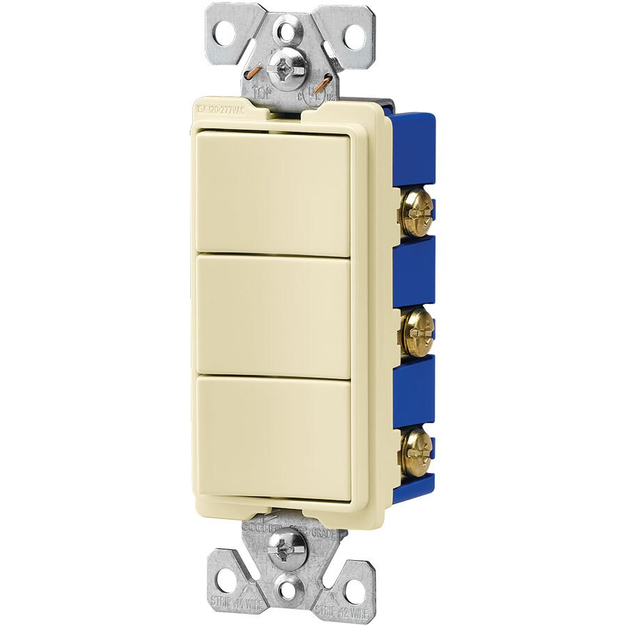 Eaton 3-Switch 15-Amp Single Pole Almond Indoor Rocker Light Switch