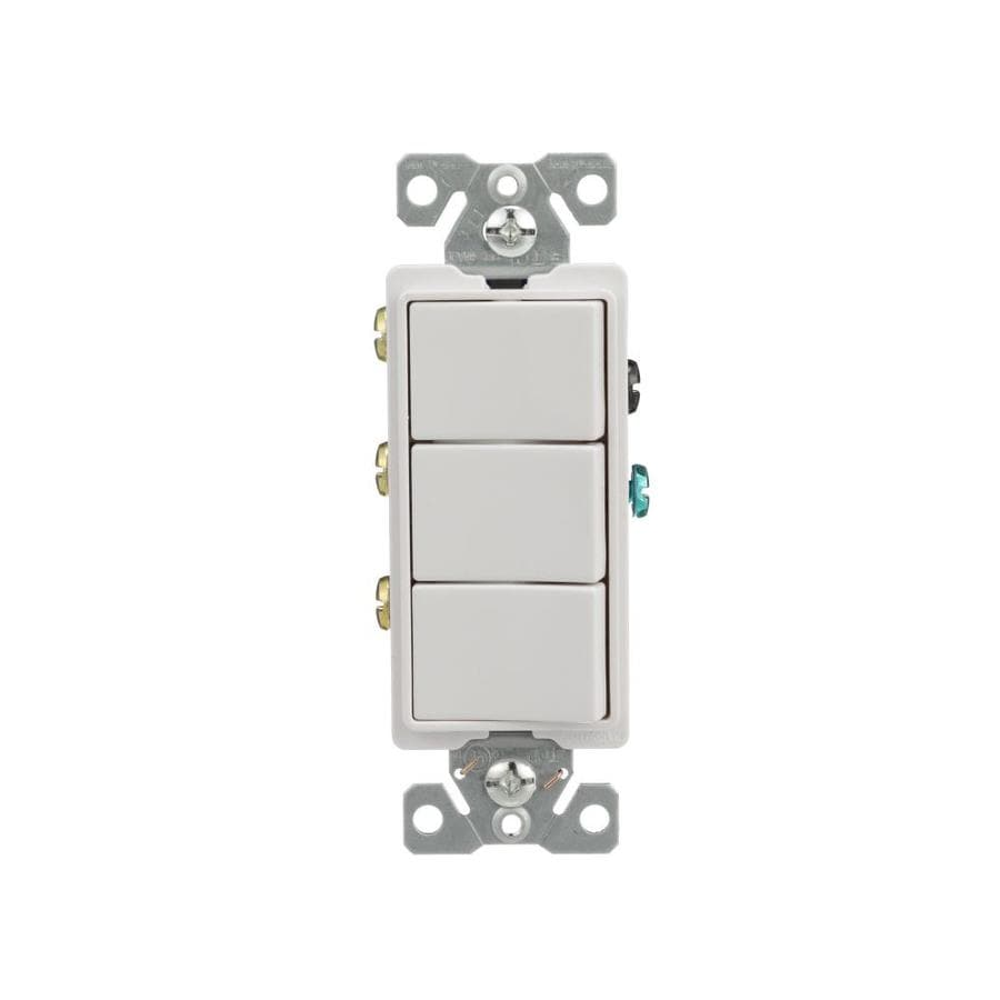 Eaton 3-Switch 15-Amp Single Pole White Rocker Indoor Light Switch