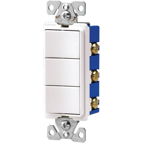 Eaton 15-Amp Single-pole White Rocker Residential/Commercial Light