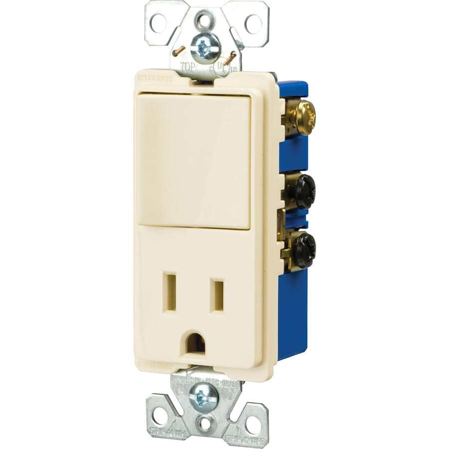 Cooper Wiring Devices Combination Decorator Style Single Pole Switch And  Grounded Receptacle 15-Amp Light