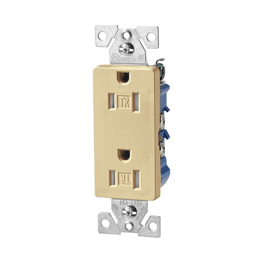 Eaton 15-Amp 125-Volt Ivory Indoor Decorator Wall Tamper Resistant Outlet