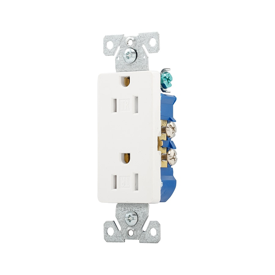 Eaton White 15 Amp Decorator Outlet Residential At Power Of Light With A Wall Schematic To Electrical Wiring Plate Sold Separately